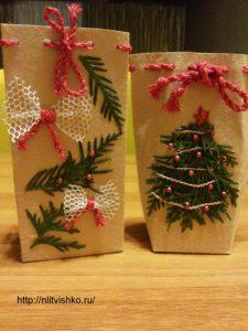 Упаковка для подарков своими руками. Декор веточками туи